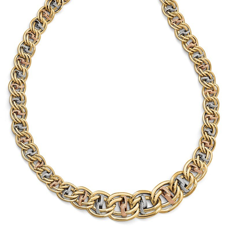 Leslie's Leslie's 14K Tri-color Polished & Textured Fancy Link Necklace