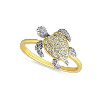 14K 2 TONE TURTLE RING WITH MOVABLE LIMBS & 46 DIAMONDS 0.17CT, TURTLE 1/2 INCH WIDE