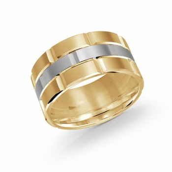Trendy 11mm yellow and white  gold brick motif satin finish band with high polished grooved accents