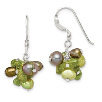 Sterling Silver Green FW Cultured Pearl/Peridot Earrings