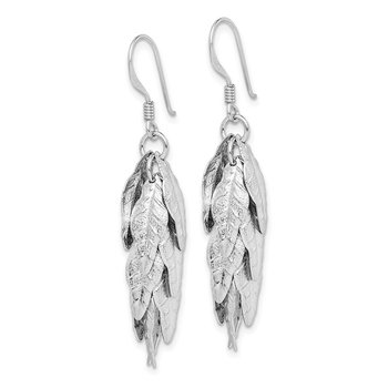 Sterling Silver Rhodium-plated Brushed Leaves Dangle Earrings