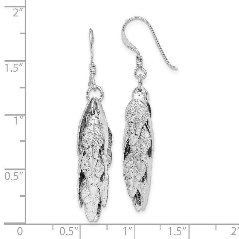 DiamondJewelryNY Sterling Silver Rhodium-Plated Polished and Brushed Onyx Leaf Slide