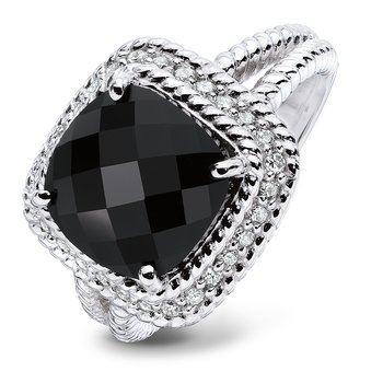 Sterling silver, black onyx and diamond ring
