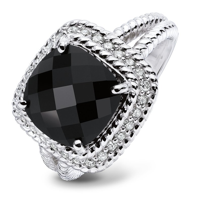 Colore Sg Sterling silver, black onyx and diamond ring