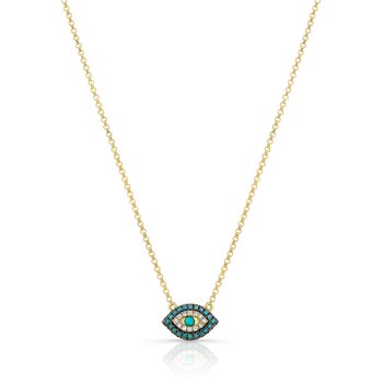 Yellow Gold Piety Treated Blue Diamond Mini Evil Eye Necklace