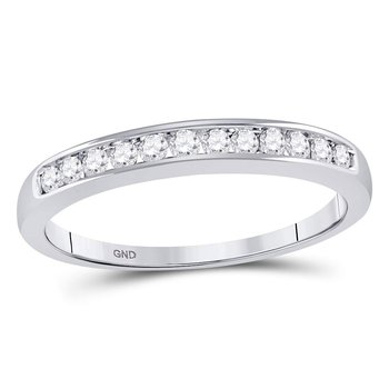 14kt White Gold Womens Round Channel-set Diamond Single Row Wedding Band 1/4 Cttw - Size 8