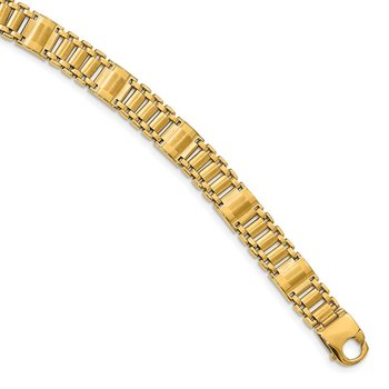 14k Satin & Polished Men's Link Bracelet