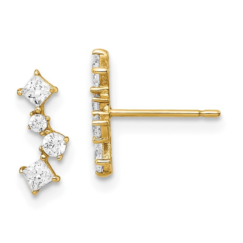 Quality Gold 14k Yellow Gold Madi K CZ Post Earrings