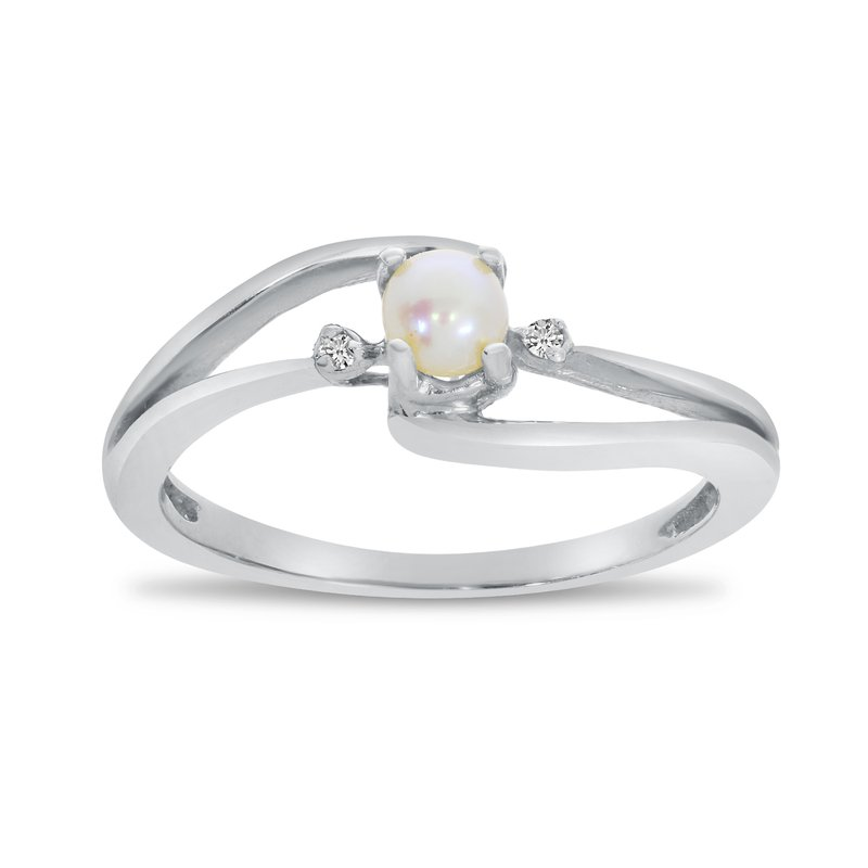 Color Merchants 14k White Gold Freshwater Cultured Pearl And Diamond Wave Ring