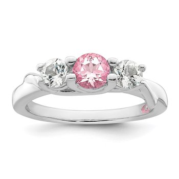 10k White Gold Survivor Collection Clear/Pink Swarovski Topaz Joanna Ring