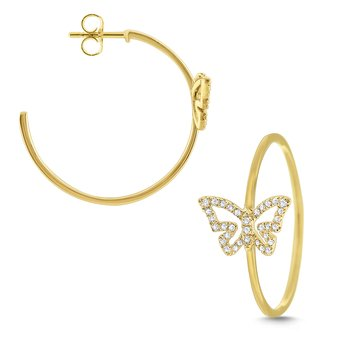 14k Gold and Diamond Butterfly Hoops