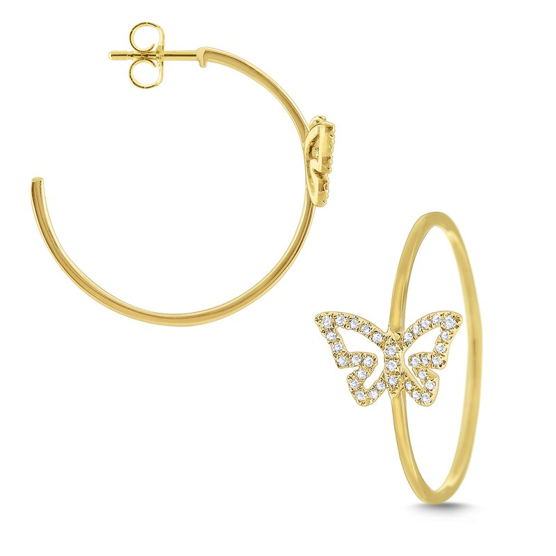 KC Designs 14k Gold and Diamond Butterfly Hoops