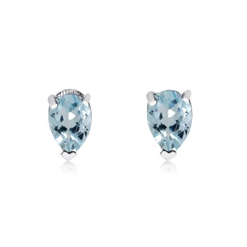 14k White Gold Aquamarine Pear-Shaped Earring