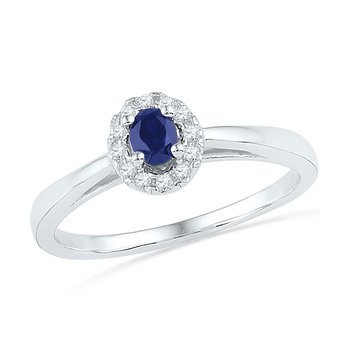 Sterling Silver Womens Oval Lab-Created Blue Sapphire Solitaire Diamond Ring 1/3 Cttw