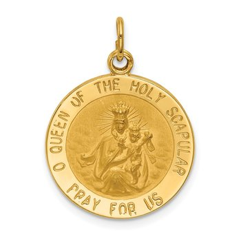 14K Solid Small Queen Of Holy Scapular Reversible Medal