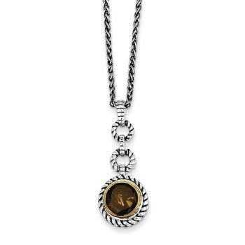 Sterling Silver w/Gold-tone Flash Gold-plated Smoky Quartz Necklace