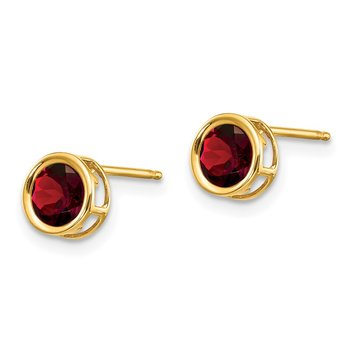 14k 5mm Bezel Garnet Stud Earrings