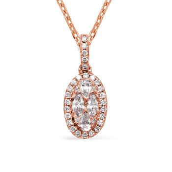 Rose Gold Diamond Necklance Bezel Set