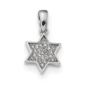 Sterling Silver Rhodium-plated CZ Star of David Pendant