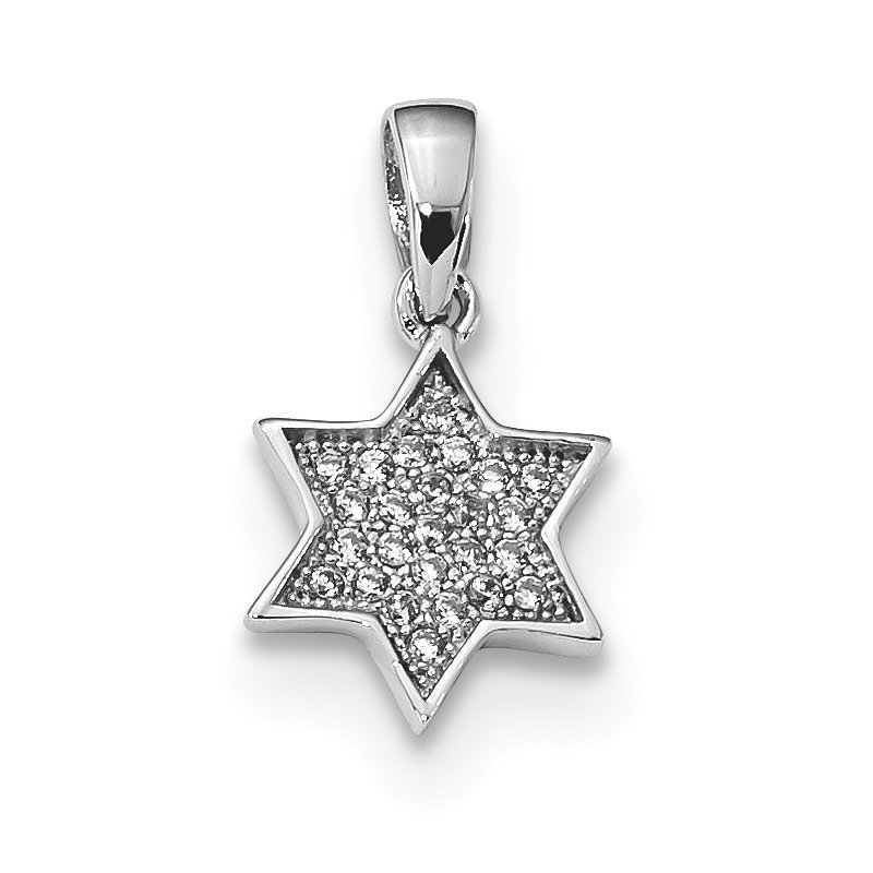 Quality Gold Sterling Silver Rhodium-plated CZ Star of David Pendant