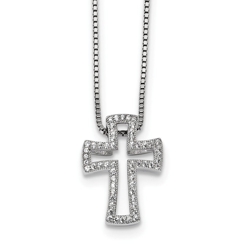 Quality Gold SS Rhodium-Plated CZ Brilliant Embers Cross Necklace