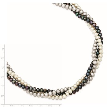 Sterling Silver Rhodium 5-6mm FWC Semi Round Pearl w/2in ext. Necklace