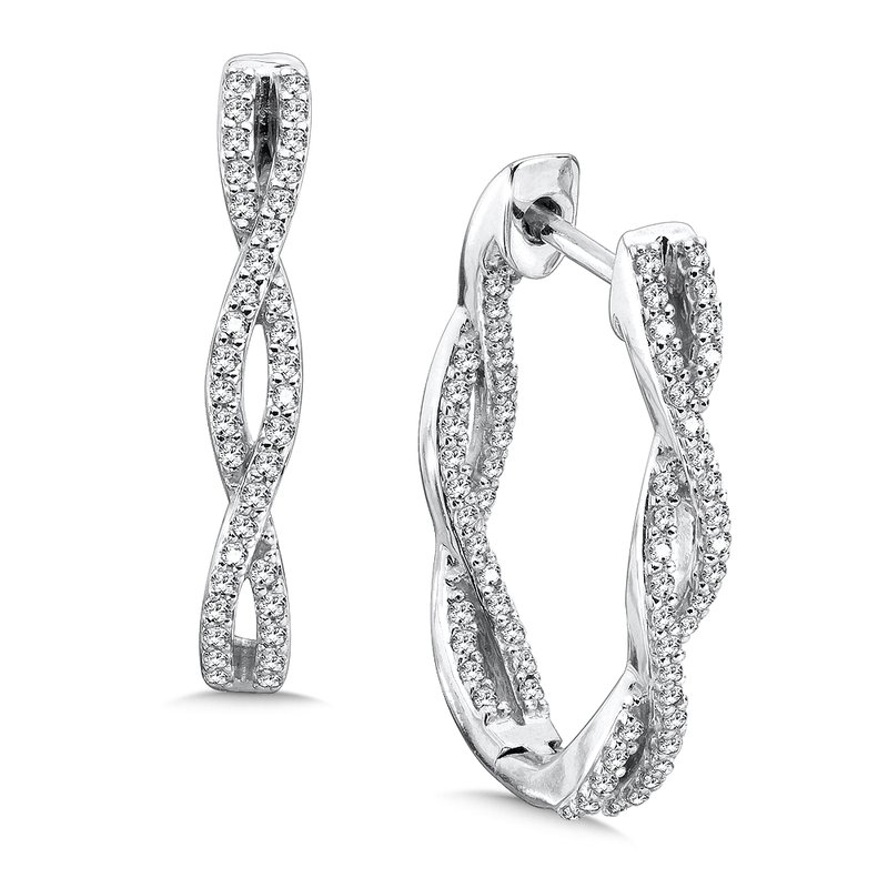 SDC Creations Pave set Diamond Twisted Inside/Out Hoops in 14k White Gold (1/2 ct. tw.) GH/SI1-SI2