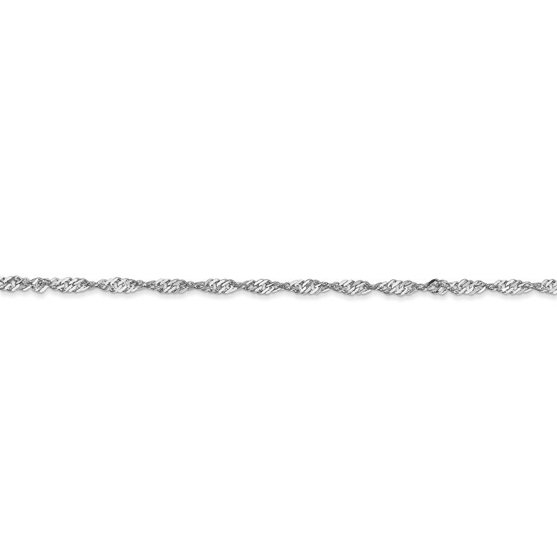 Quality Gold 14k White Gold 1.7mm Singapore Chain Anklet