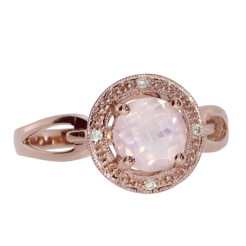 Color Merchants 14K Rose Gold Rose Quartz and Diamond Fashion Ring