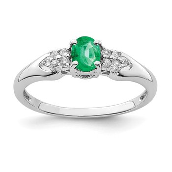 Sterling Silver Rhodium-plated Emerald and White Sapphire Ring