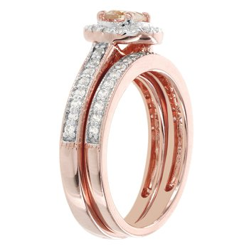 14k Rose Gold 1/2ct Morganite Center and 1/3ct TDW Diamond Bridal Set