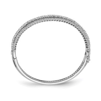 Sterling Silver CZ Hinged Bangle
