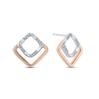 0.07 ct Round Diamond Square Shape Fashion Stud Earrings