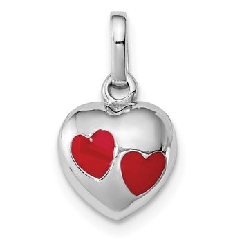 Sterling Silver RH Plated Child's Red Enameled Heart Pendant