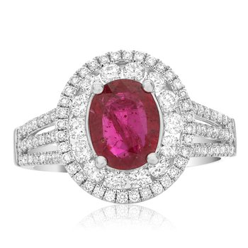 Split Shank Ruby & Diamond Ring