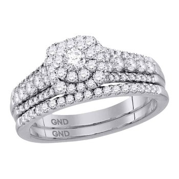 14kt White Gold Womens Round Diamond Bridal Wedding Engagement Ring Band Set 1.00 Cttw