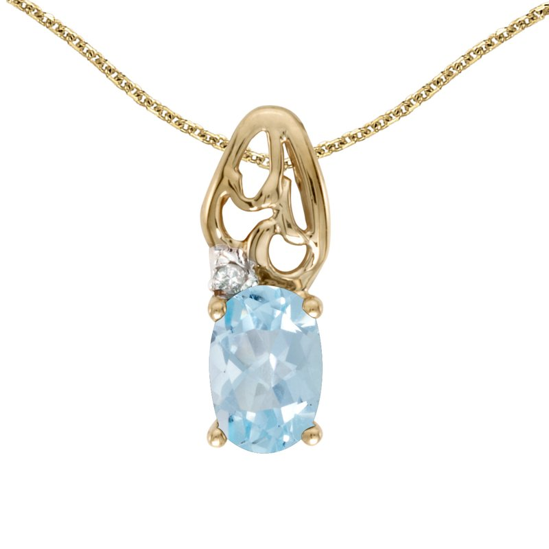 Color Merchants 10k Yellow Gold Oval Aquamarine And Diamond Pendant