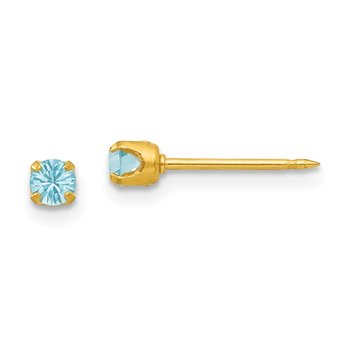 Inverness 24k Plated March Lt Blue Crystal Birthstone Earrings