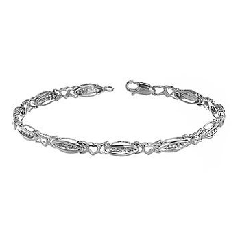 10K WG and Diamond Heart Linked Bracelet