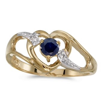 10k Yellow Gold Round Sapphire And Diamond Heart Ring