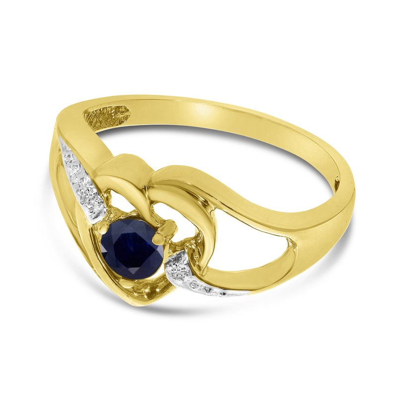 Color Merchants 10k Yellow Gold Round Sapphire And Diamond Heart Ring
