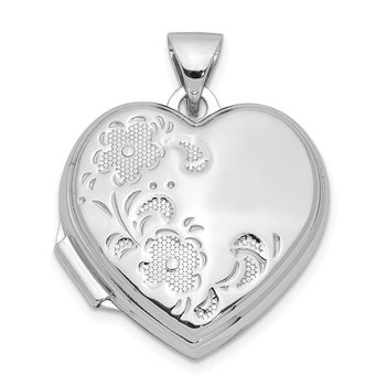 Sterling Silver Rhodium-plated 18mm Floral Heart Locket