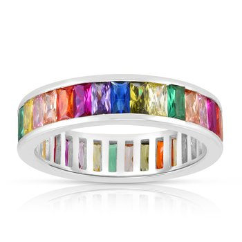 Silver Rainbow CZ Baguette Eternity Ring
