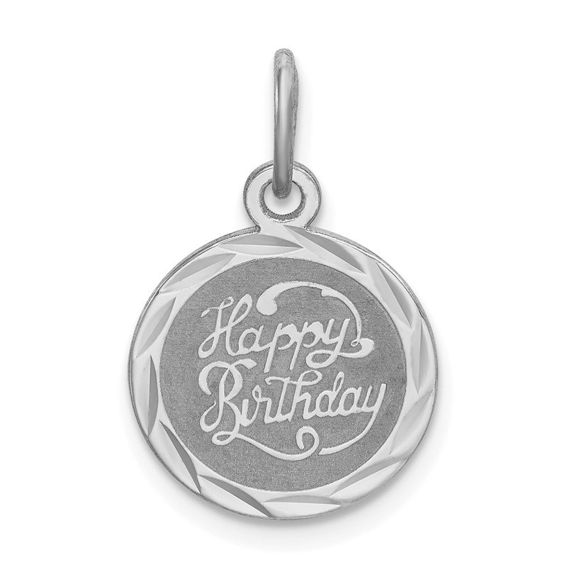 Quality Gold Sterling Silver Rhodium-plated Happy Birthday Disc Charm