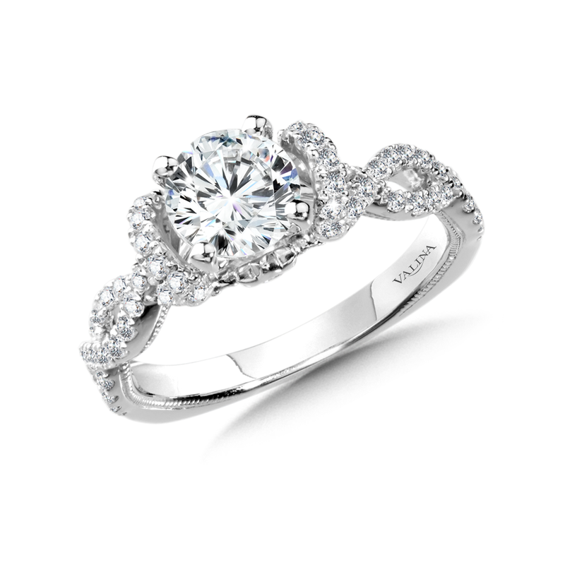 Valina Diamond Engagement Ring Mounting in 14K White Gold (0.46 ct. tw.)
