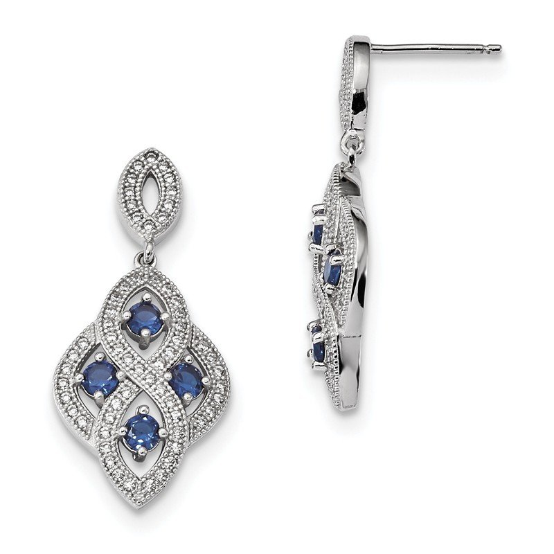 Quality Gold Sterling Silver & CZ Brilliant Embers Polished Dangle Post Earrings