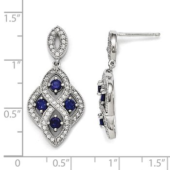 SS Rhodium-Plated CZ Brilliant Embers Dangle Post Earrings