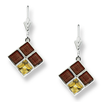 Sterling Silver Square Weave Wire Earrings-Brown.  Citrine.