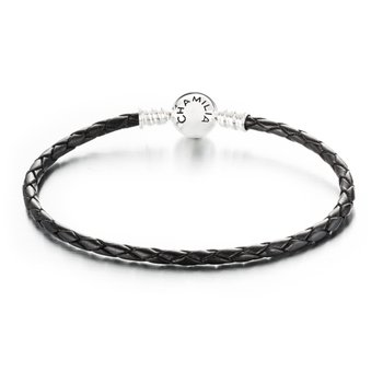 Black Braided Leather Bracelet With Round Snap Clossure