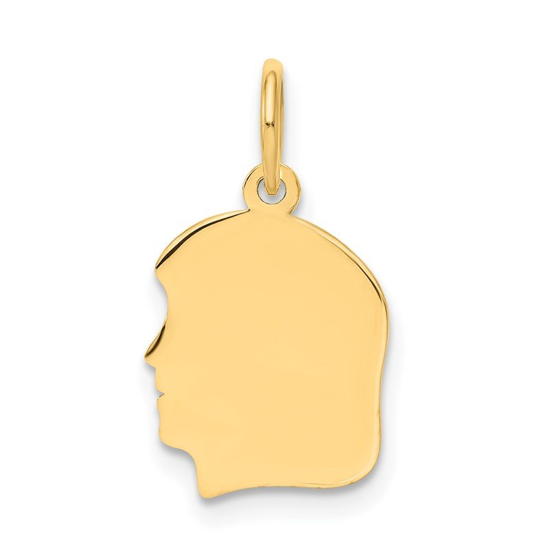 Quality Gold 14k Plain Small .009 Gauge Facing Left Engravable Girl Head Charm